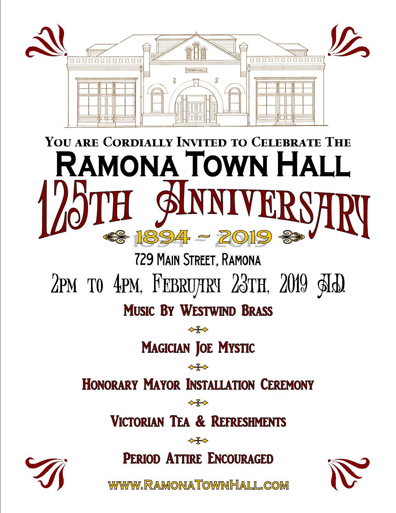 Ramona Town Hall 125th Anniversary