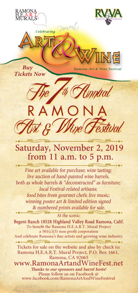 Ramona Art and Wine Festival Rack Card