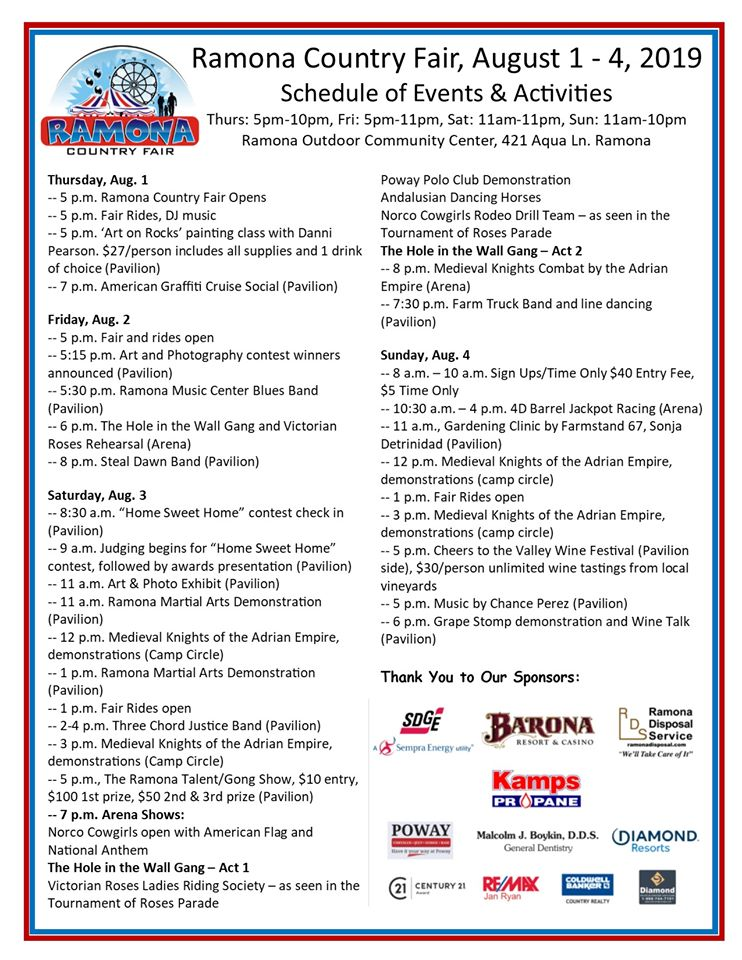 Ramona Country Fair schedule