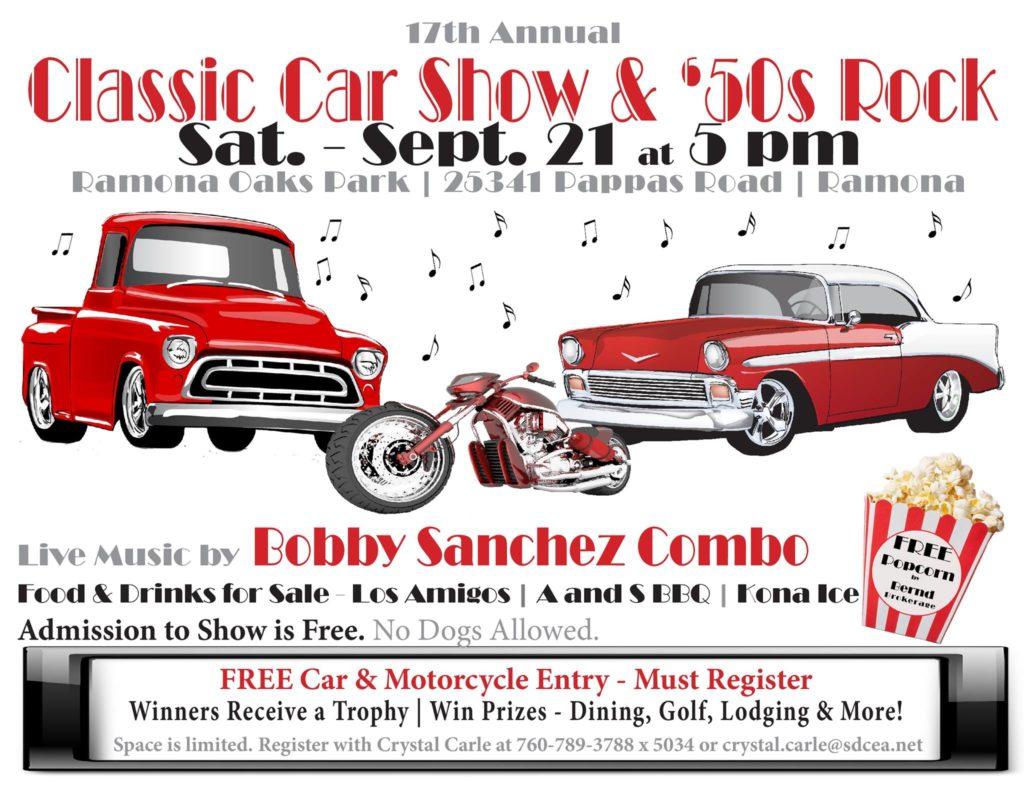 Classic Car Show and 50s Rock Ramona Oaks Park