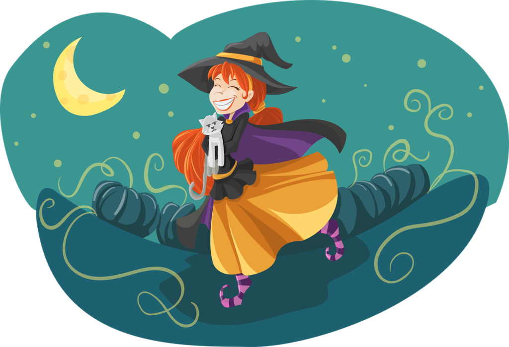halloween witch and cat