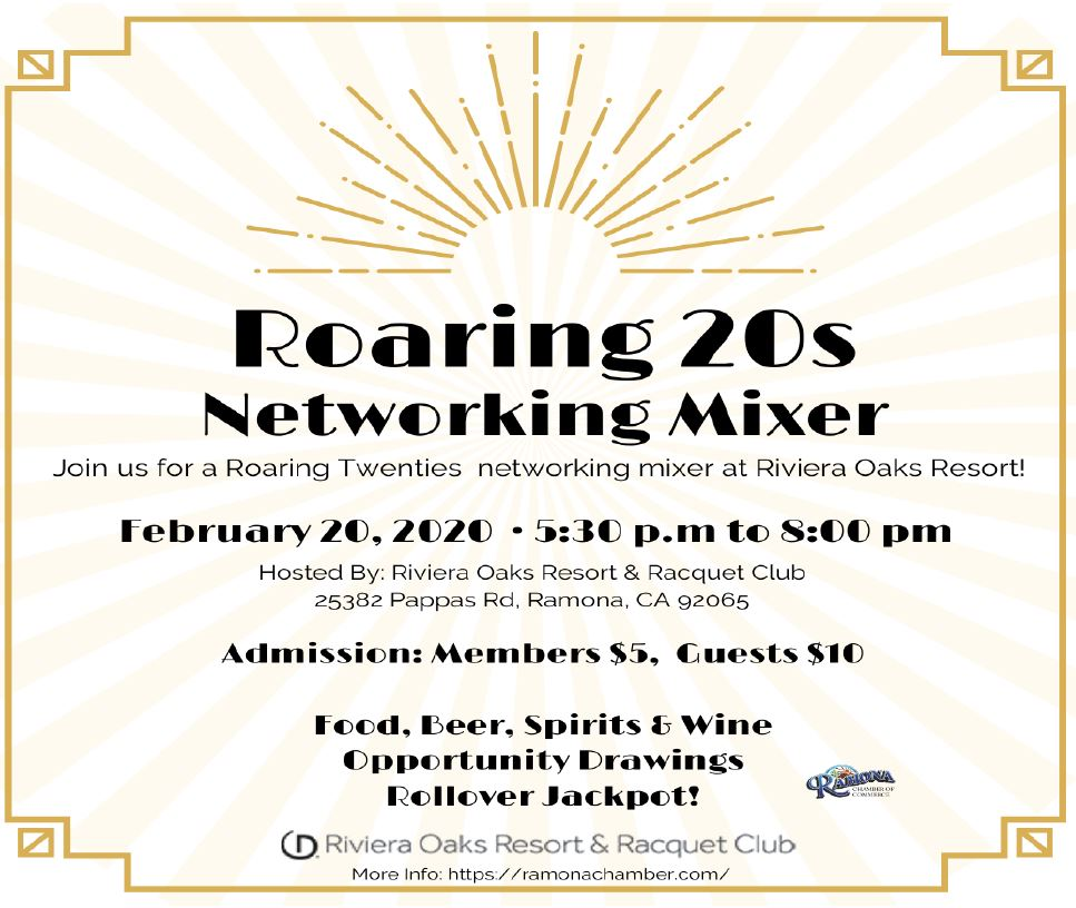 Roaring 20s networking mixer Riviera Oaks 2-20-2020