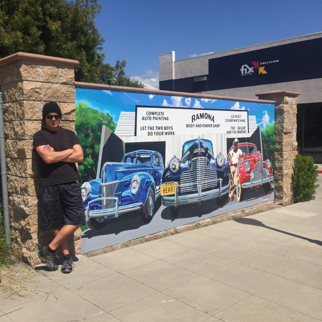 Ramona HEART Mural Project Fix Auto dedication with artist Daniel Hernandez