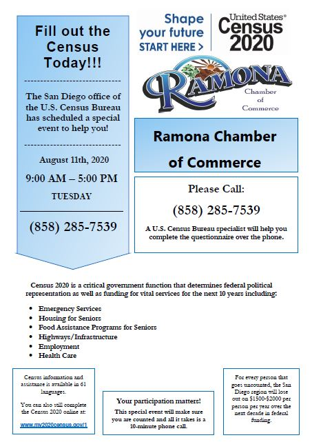 Ramona Springs Chamber of Commerce Census Day