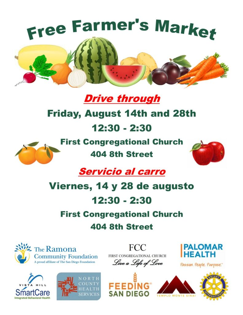 Free Farmers Market at First Congregational Church Ramona