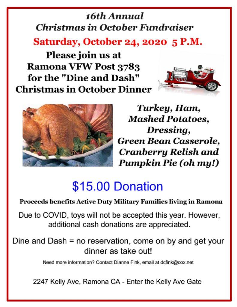 VFW christmas in October Fundraiser 10-24-2020