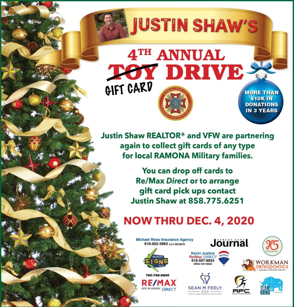 Justin Shaw 4th annual gift card drive
