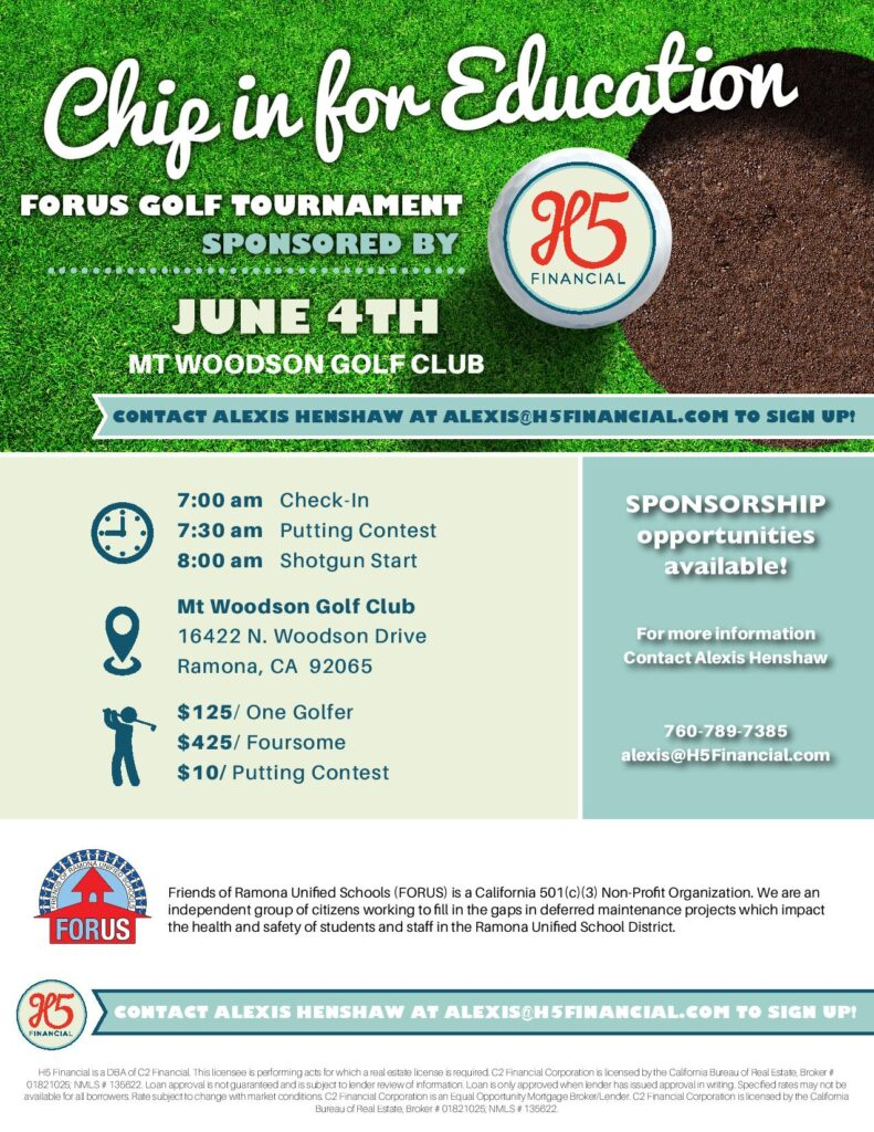 Chip in for Education 2021 FORUS Fundraiser at Mt Woodson Golf Club