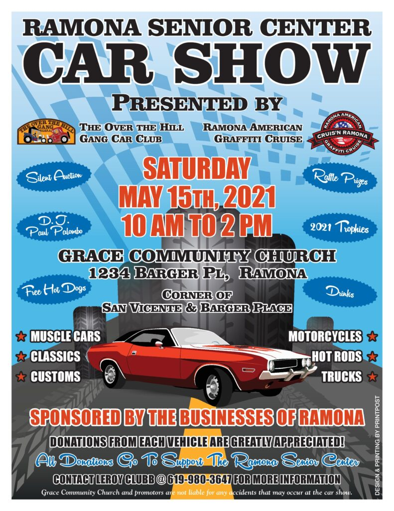 2021 spring car show Ramona Senior Center